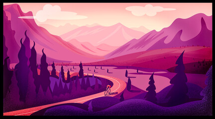 Foto op Canvas Candy roze View of a valley with trees in the mountains and a road traveled by a cyclist, giro d'Italia (cycling competition). Man on a bicycle in the mountains. Mountain bike route. Outdoor sports.