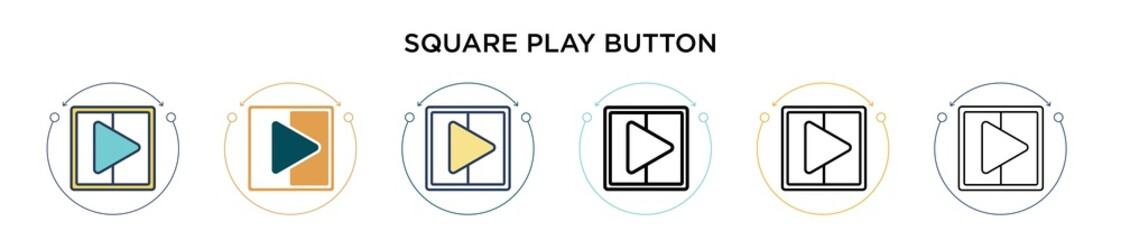 Square play button icon in filled, thin line, outline and stroke style. Vector illustration of two colored and black square play button vector icons designs can be used for mobile, ui, web