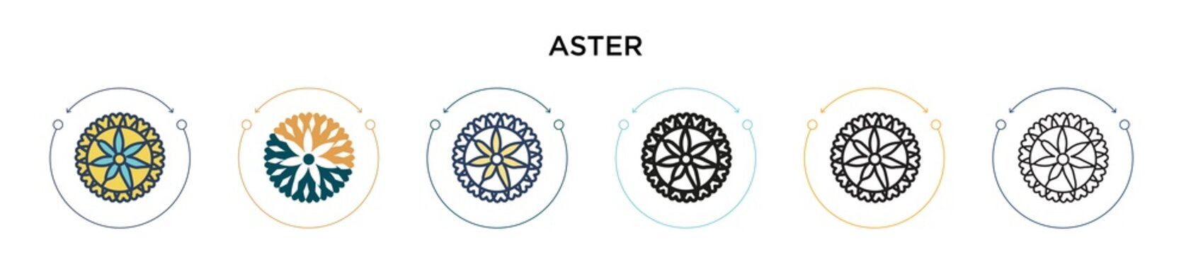 Aster icon in filled, thin line, outline and stroke style. Vector illustration of two colored and black aster vector icons designs can be used for mobile, ui, web