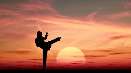 Silueta de persona en una pose de tai chi con el crepúsculo como símbolo de paz interior
