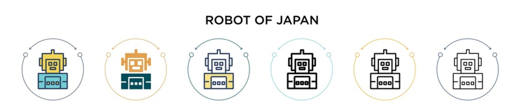 Robot of japan icon in filled, thin line, outline and stroke style. Vector illustration of two colored and black robot of japan vector icons designs can be used for mobile, ui, web