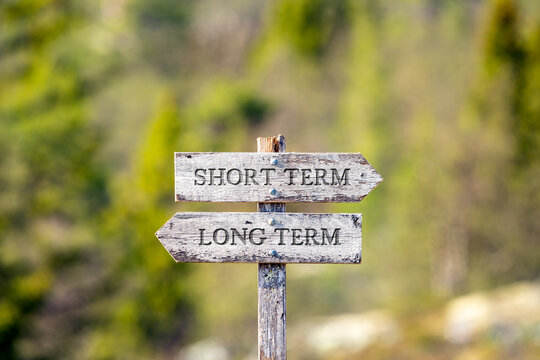 short term long term text carved on wooden signpost outdoors in nature. Green soft forest bokeh in the background.