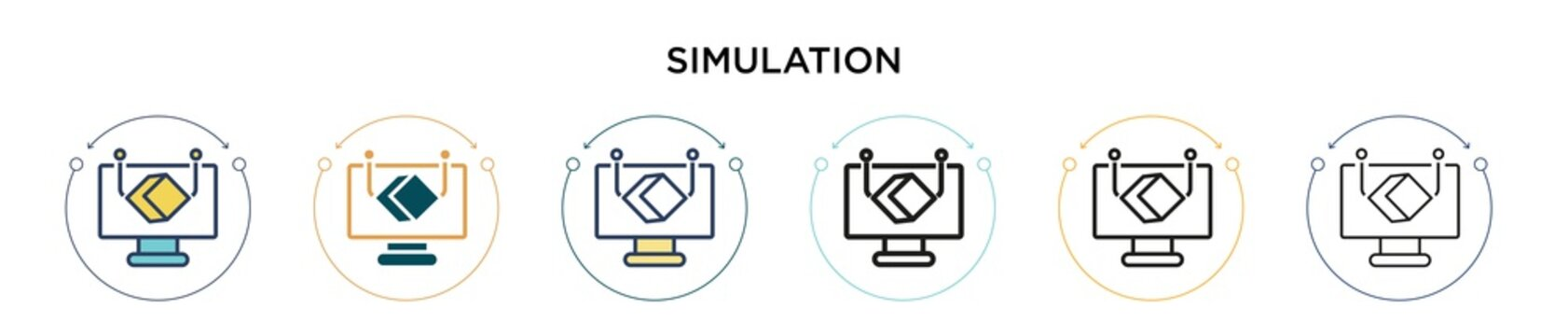 Simulation icon in filled, thin line, outline and stroke style. Vector illustration of two colored and black simulation vector icons designs can be used for mobile, ui, web