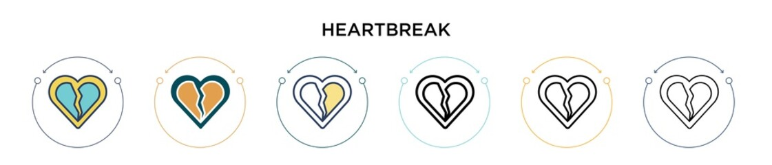 Heartbreak icon in filled, thin line, outline and stroke style. Vector illustration of two colored and black heartbreak vector icons designs can be used for mobile, ui, web