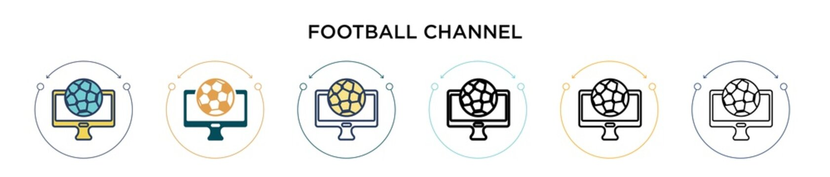Football channel icon in filled, thin line, outline and stroke style. Vector illustration of two colored and black football channel vector icons designs can be used for mobile, ui, web