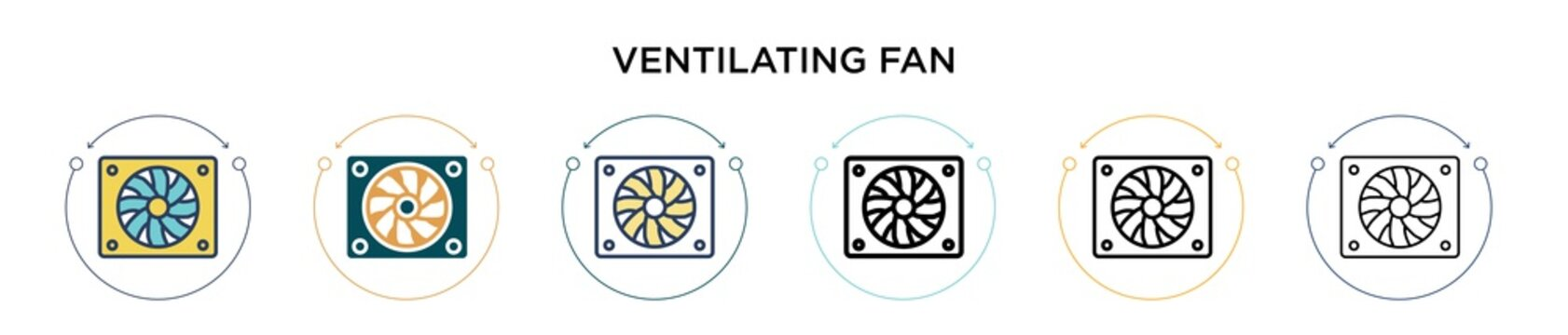 Ventilating fan icon in filled, thin line, outline and stroke style. Vector illustration of two colored and black ventilating fan vector icons designs can be used for mobile, ui, web