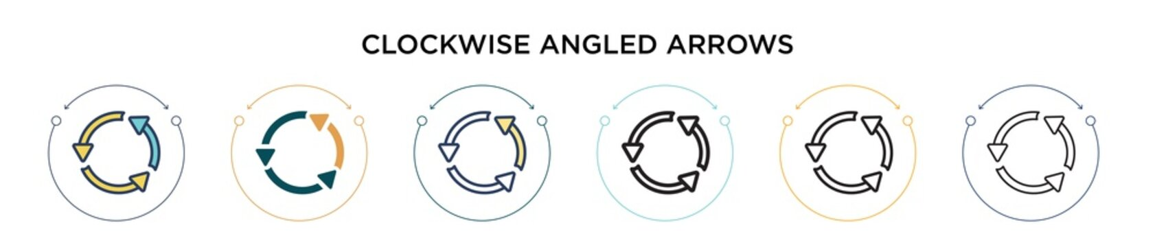 Clockwise angled arrows icon in filled, thin line, outline and stroke style. Vector illustration of two colored and black clockwise angled arrows vector icons designs can be used for mobile, ui, web