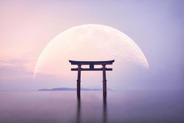 大きな月と鳥居