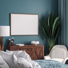 Foto auf Leinwand Dinosaurier Mockup frame in dark green bedroom interior background, 3d render