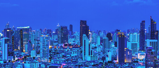 cityscape of buildings and skyscrapers in business district of Bangkok