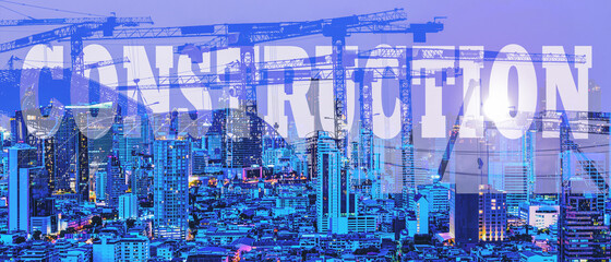 double exposure background of word construction over city background