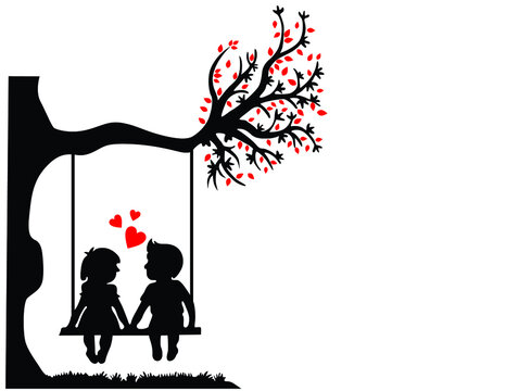 Kid Teen Love Swing Tree Couple Romance First 1st Kiss Balloon Heart Silhouette Pic Photo Wall Art