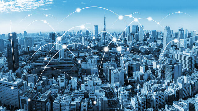 The modern creative communication and internet network connect in smart city . Concept of 5G wireless digital connection and internet of things future.