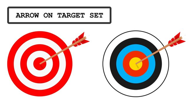 Target with arrow, bullseye vector icons.