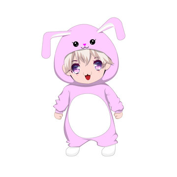 vector illutration with white background, cute chibi wearing rabbit costum