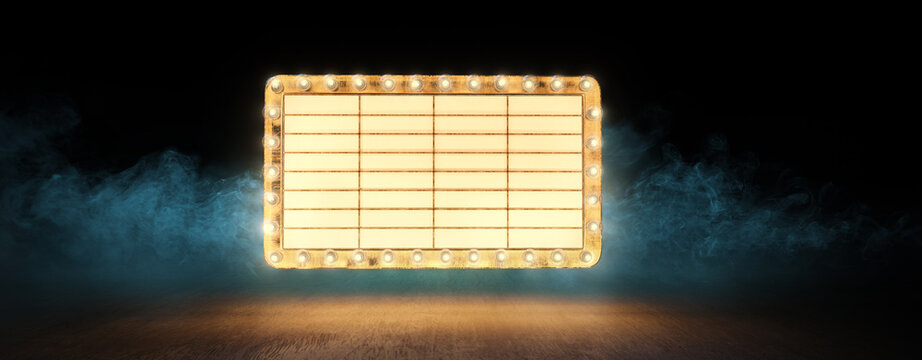 (3D Rendering, illustration) Empty vintage theater sign floating over a wooden background