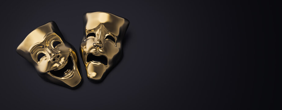 Golden theater masks of drama and comedy on a dark background (3D Rendering, illustration)