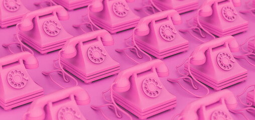 3D Rendering, illustration of vintage pink rotary telephones.
