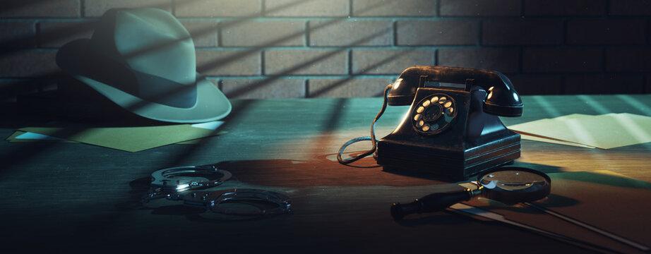 3D rendering of a detective desk / high contrast image