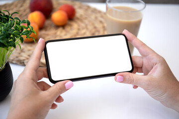 female hands horizontally hold phone with isolated screen in cafe