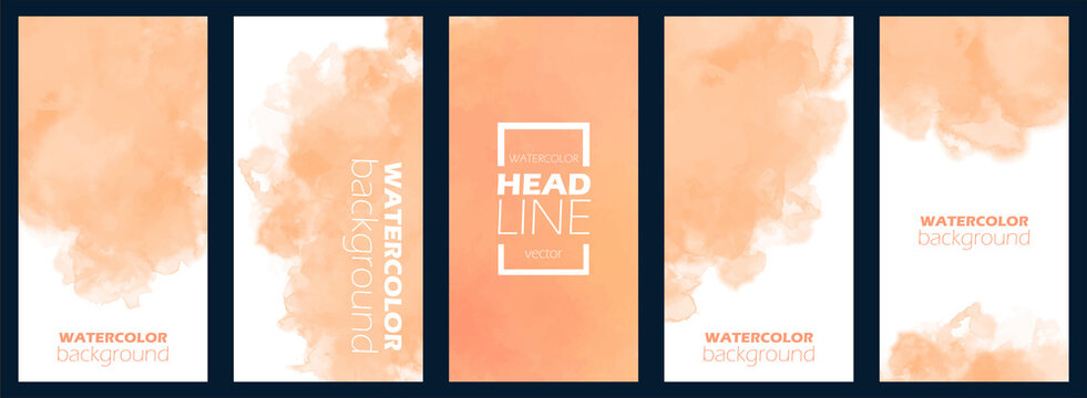 Bundle of watercolor posters, flyers or cards. Banner template with painted background in orange color. Vector illustration. Set of light aquarelle for business card. Floating frame, free copy space.