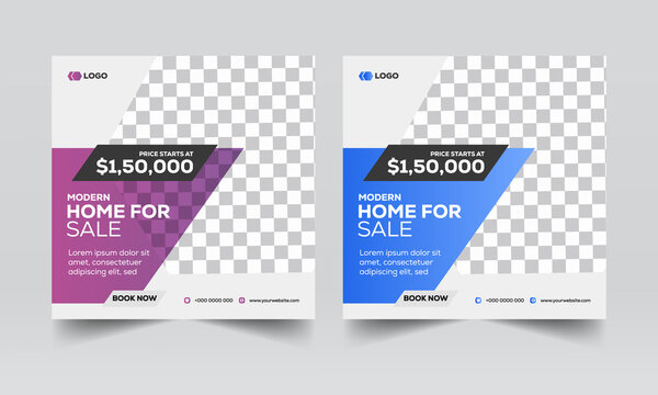 Real Estate Social Media Banners, Real Estate flyer templates