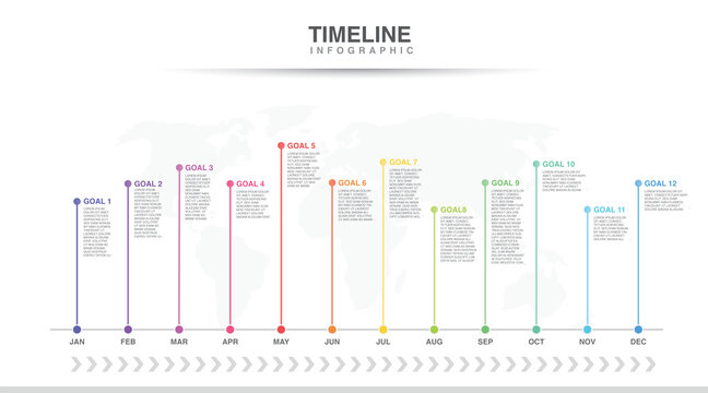 Year planner, 12 months, 1 year, Timeline infographics design vector and Presentation business can be used for Business concept with 12 options, steps or processes, goal