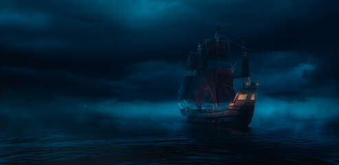 Tuinposter Schip ( 3D illustration, Rendering ) VIntage black pirate ship sailing on caribbean waters at night.