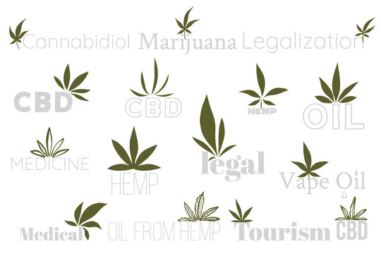 Cannabis vector logo. Doodle cbd emphasis, hemp oil icon. Line pencil, pen or marker drawing. Medical marijuana design on white background