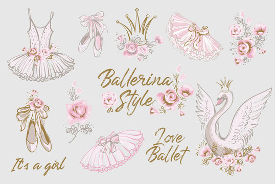 Cute ballet vector watercolor set. Hand drawn balerina dress, tutu skirt, shoes, swan, flowers, slogan, lettering sketch. Gold and pink vintage illustration white background. Baby girl fashion design