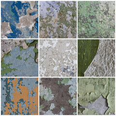 Set of peeling paint textures. Old concrete walls with cracked flaking paint. Weathered rough painted surfaces with patterns of cracks and peeling. Collection of grunge backgrounds for design.