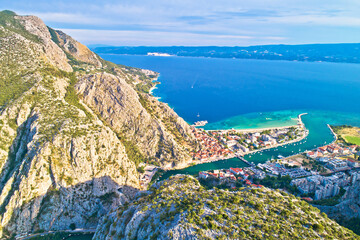 Cetina river canyon and mouth in Omis view from above