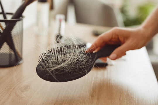 Close up of female hand holding brush full of hair, hair loss and alopecia concept, copy space