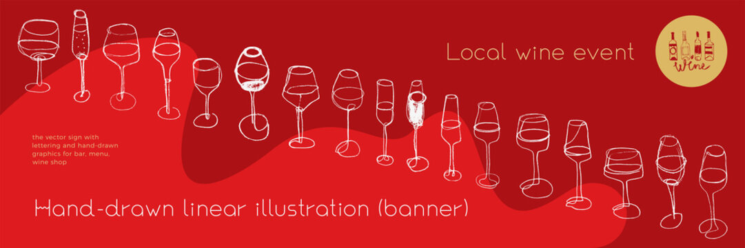 Horizontal restaurant banner with wine glasses icons in trendy line art style. Homemade cooking with Cooking utensils vector. Cooking courses banner. Wine glass icons for bar poster, local wine event