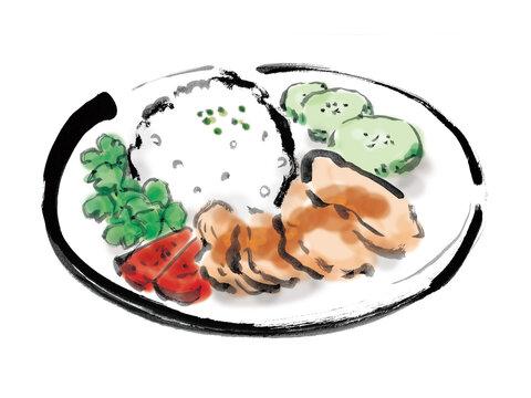 東南アジアの庶民料理の海南鶏飯の手描きイラスト