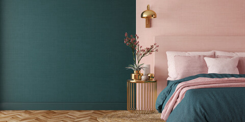 Fototapeta Bedroom interior.Art deco style.Design with green pink and gold color.3d rendering obraz