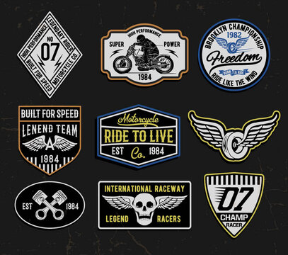 Set of vintage motorcycle labels, badges, logos and design elements.for t shirt and other uses.