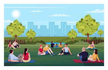 Urban park semi flat vector illustration. Friends rest together outside. Summer recreation for family outdoors. Sit on blanket and lounge. Resting crowd 2D cartoon characters for commercial use