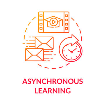 Asynchronous learning concept icon. E learning. Blended and hybrid education. Distance and correspondence education idea thin line illustration. Vector isolated outline RGB color drawing