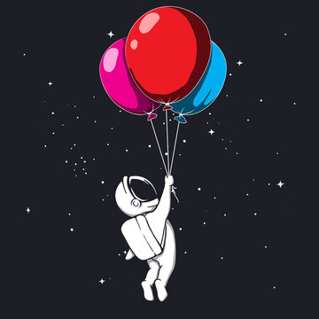 Astronaut keeps balloons to space
