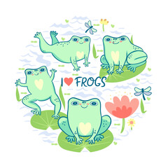 Circular composition with frogs and the inscription I love. Vector graphics.
