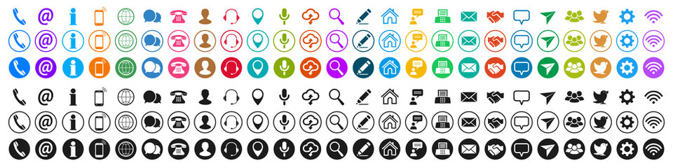 Set colored and black contact icons, communication signs - stock vector