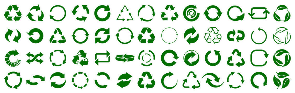 Set of green arrow recycle, means using recycled resources, recycling, arrows, recycle icon – vector