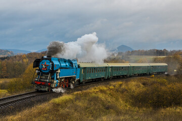 Czech steam locomotive on a nostalgic train