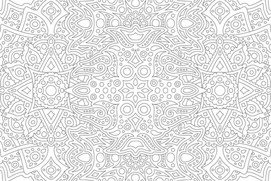 Line art for coloring book with eastern pattern