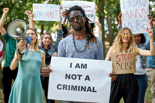 diverse american people took to the public park and streets to protest anti-black racism and police brutality. black lives matter, blm concept
