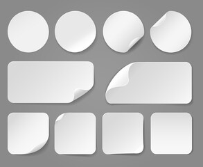Adhesive white paper stickers realistic