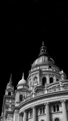 Szent Istvan Bazilika (St Stephen Basilica) neoclassical church in the center of Budapest, completed in 1905 (Black and White with copy space)