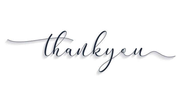Thank You Lettering Black Text Handwriting Calligraphy with Shadow isolated on White Background. Greeting Card Vector Illustration Design Template Element