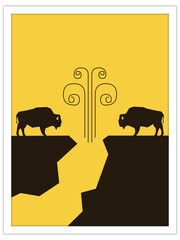 bison + wind cave | postcard template